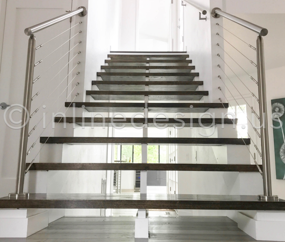 Pin By Inline Design On Sean Ca Outdoor Stair Railing Stair   Glass Stair Railing Near Me   Interior   Railing Systems   Stainless Steel   Tempered Glass Panels   Iron