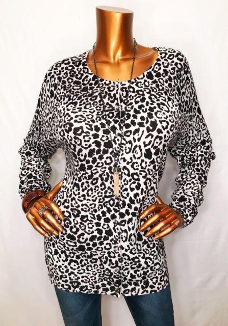 CHICO'S Women Sweater 3 LXL Multi Color Button Down Animal