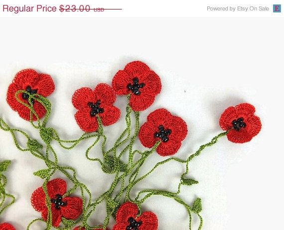Summer sale boho crochet red poppy flower necklace crochet lariat summer sale boho crochet red poppy flower necklace crochet lariat necklace unique freeform oya mightylinksfo