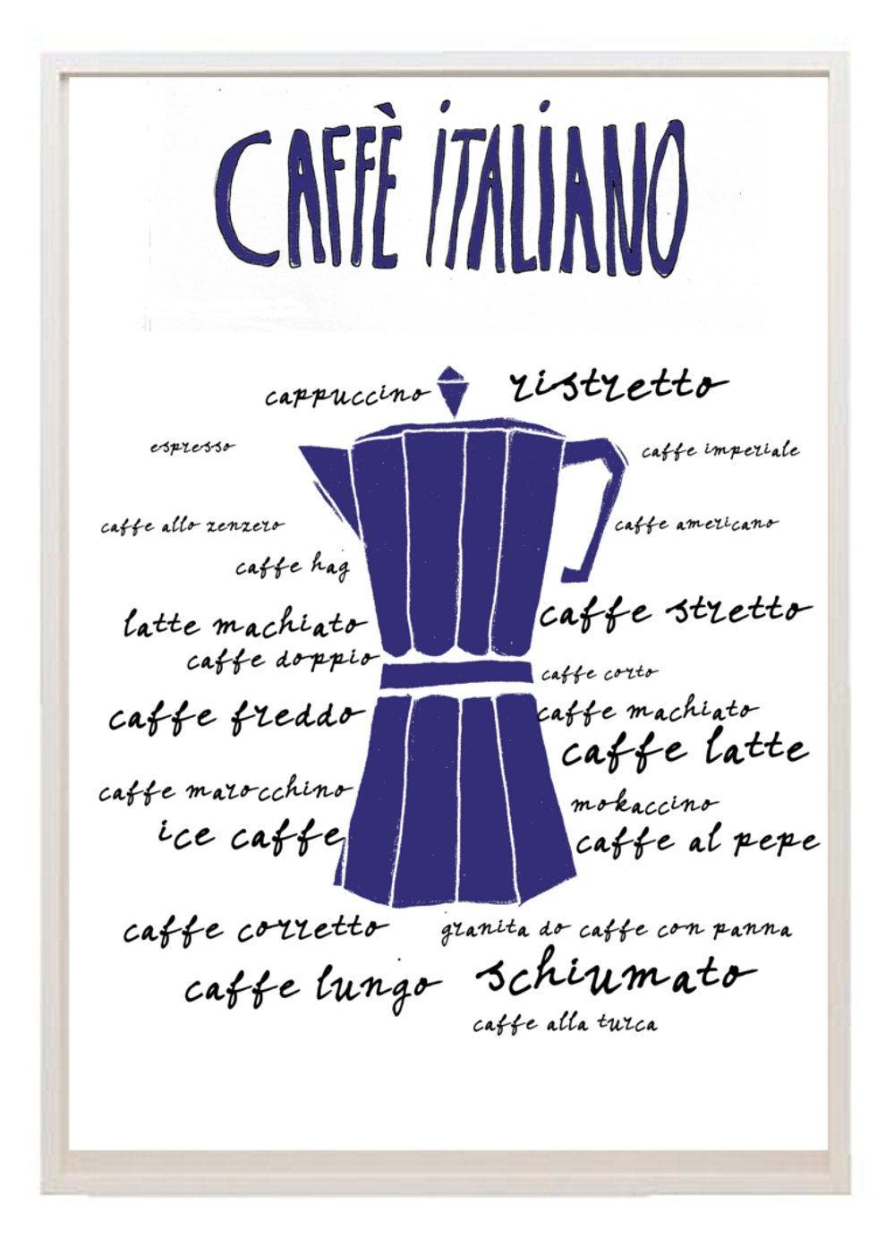 English In Italian: Kitchen Art Illustration Different Types Italian Coffee