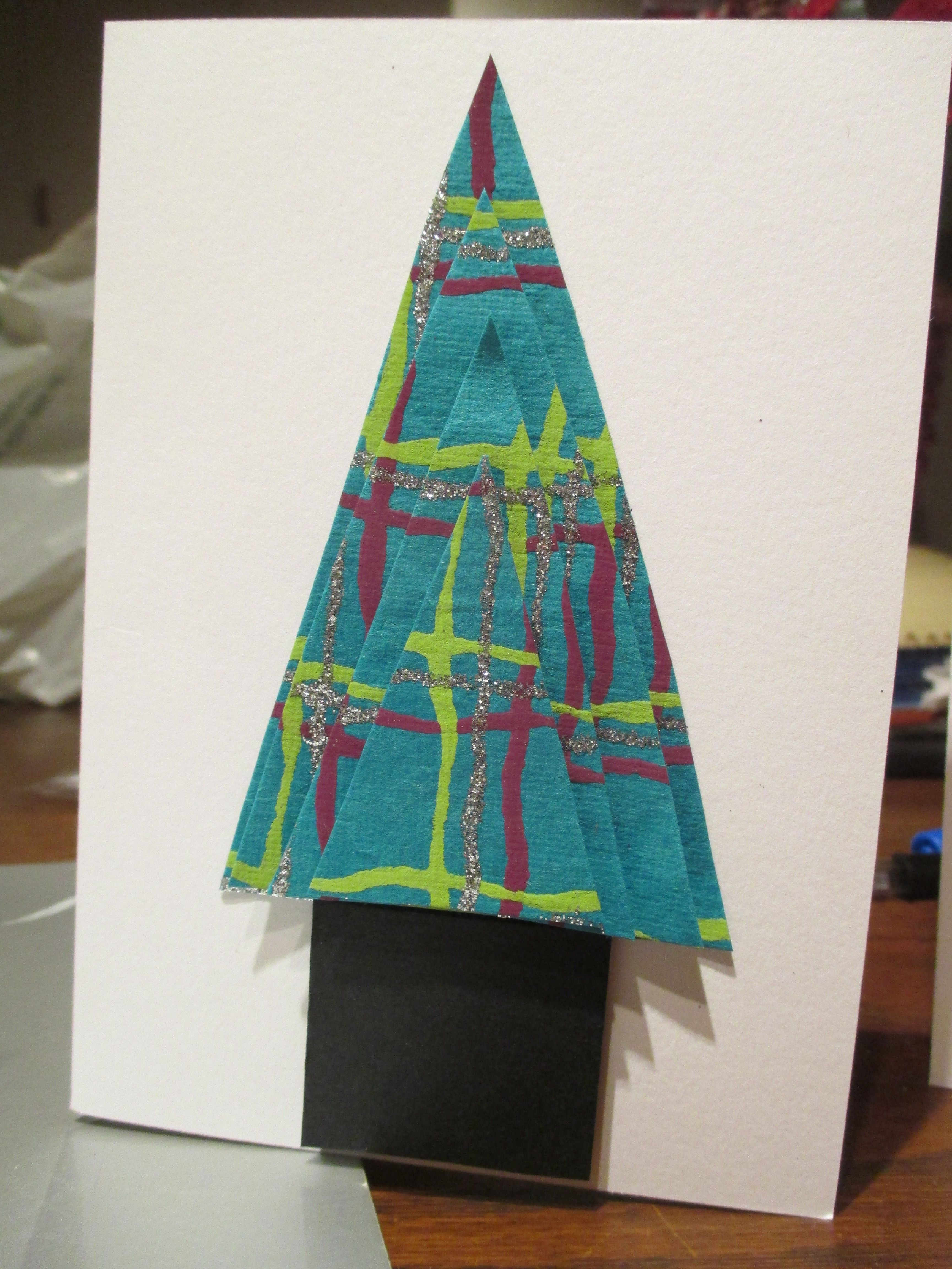 Glittery 3D Christmas Tree Card Made With Hand Made Paper