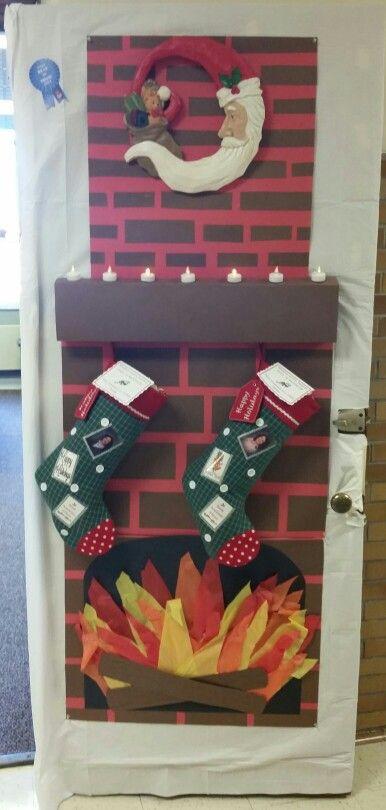 Christmas Fireplace Door Decorating Contest Holiday School