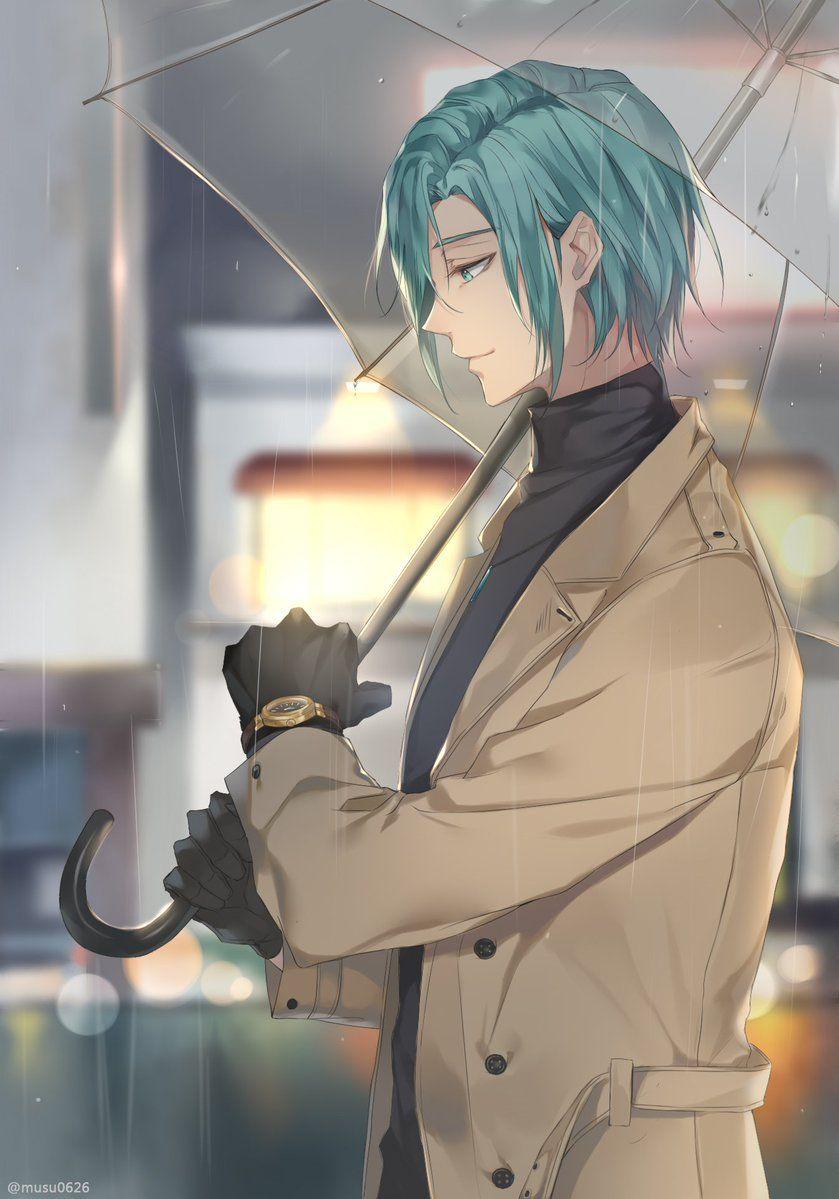 Anime guy blue hair teal umbrella coat rain