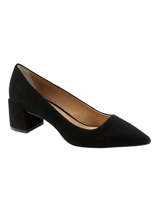 752dd635a8 Banana Republic Womens Low Block-Heel Pump Black Suede | Products ...