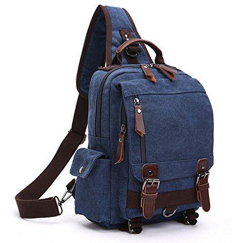 Vintage Mens Canvas Book Bag School Satchel Cross Body Bag Messenger Shoulder