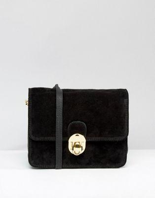 New Look Real Suede Twist Lock Crossbody Bag