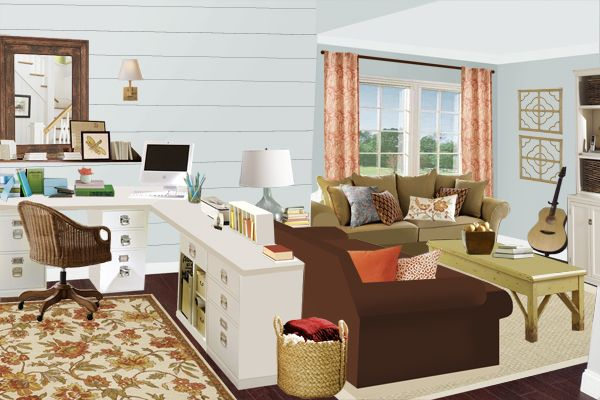 Layout Idea For The Family Room Notice The Office Living Space In A Large Room This Arrangement Would Work Very Nicely In A Basement Or Bonus Room