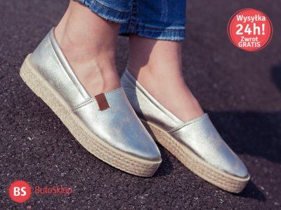 Damskie Espadryle Slip On Lniane Srebrne Tenisowki 6143920102 Oficjalne Archiwum Allegro Espadrilles Flat Espadrille Shoes