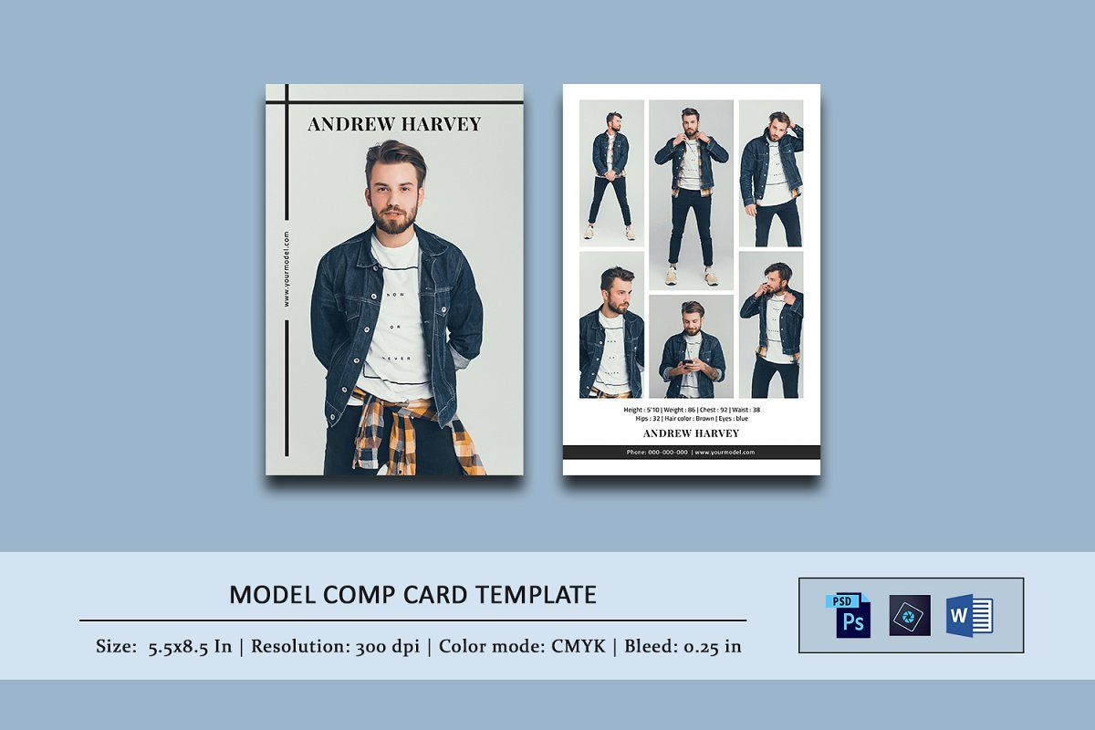 Model Comp Card Template Model Comp Card Card Template Cards