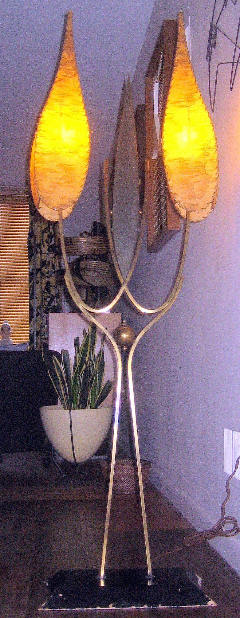 "Majestic ""Flame"" Floor Lamp...1950s..Fiberglass shades"