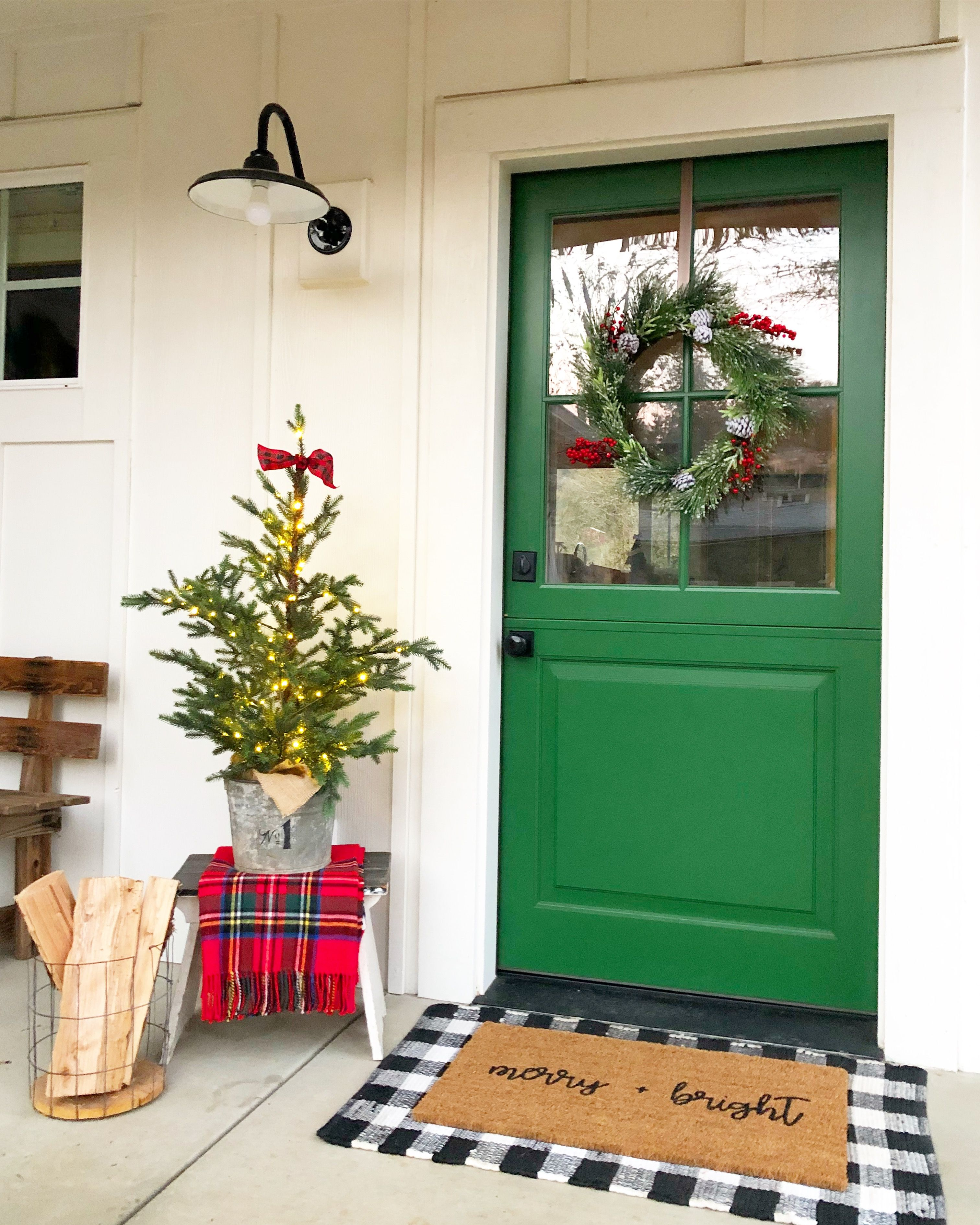 A bright green Dutch door is all the needed at