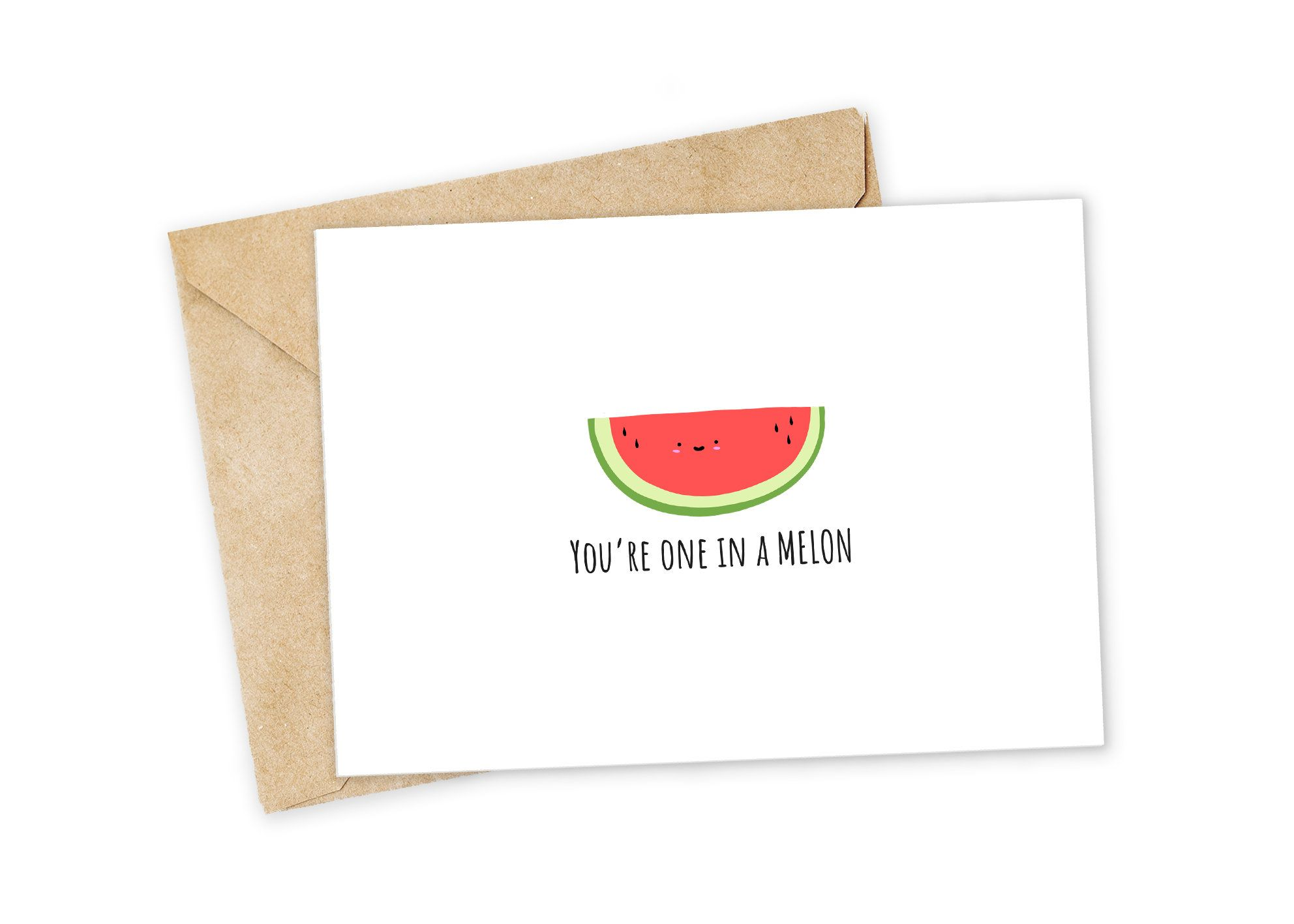 One in a Melon Melon Greeting Card Happy Card I Love You | Etsy