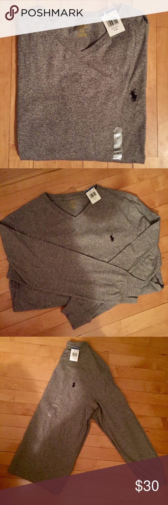Long-Sleeve V-Neck Polo Long-Sleeve V-Neck   Men's Ralph Lauren Polo. Size Large.  Long Sleeve V-Neck. 100% cotton. Heathered gray, navy blue symbol.   Tags still attached, brand new! Polo by Ralph Lauren Shirts Tees - Long Sleeve