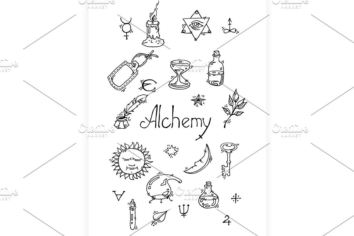 Alchemy Symbols Pattern Alchemy Symbols Symbols Graphic Illustration