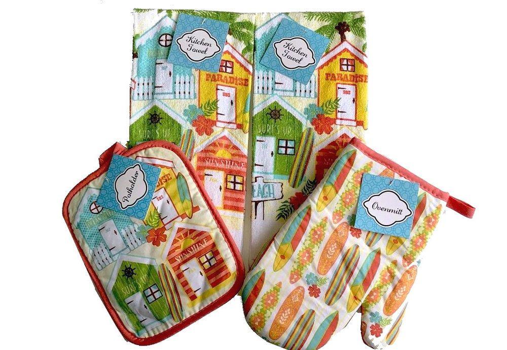 Crab Clam Bake Dish Towels Oven Mitt Pot Holder Set of 4 Beach Summer House