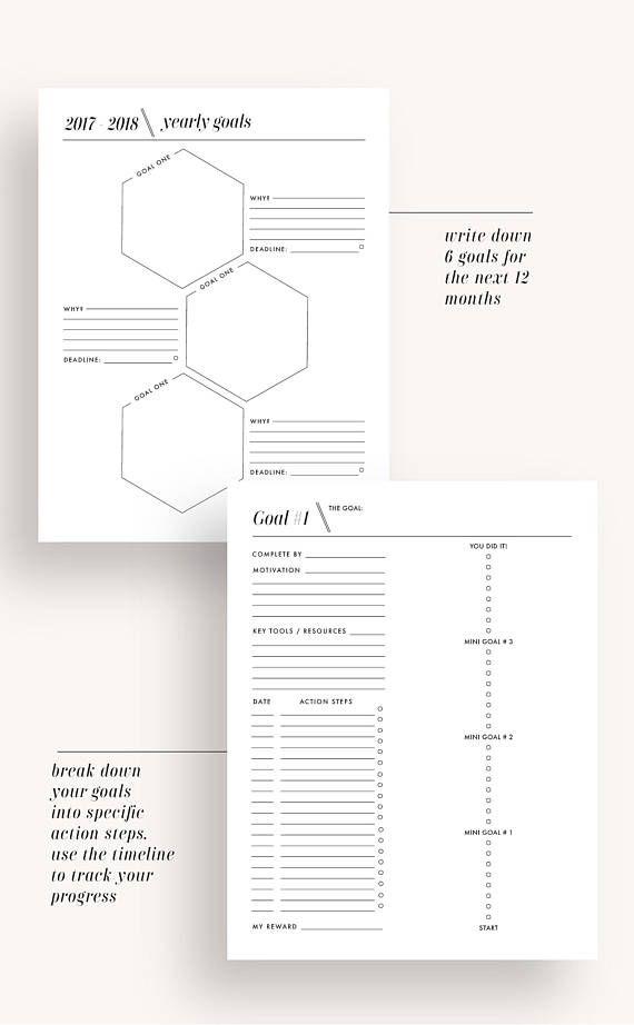 2017 2018 planner, printable planner 2017-2018 planner, academic planner, monthly planner, weekly planner, goal planner, planner inserts