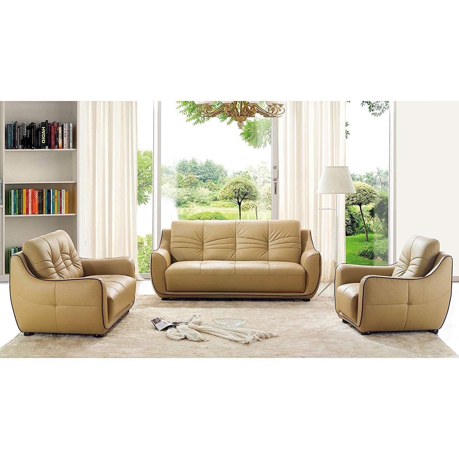 Luca Home Cappucino Sofa Loveseat And Chair Set Leather Living Room Set Sofa And Loveseat Set Living Room Leather