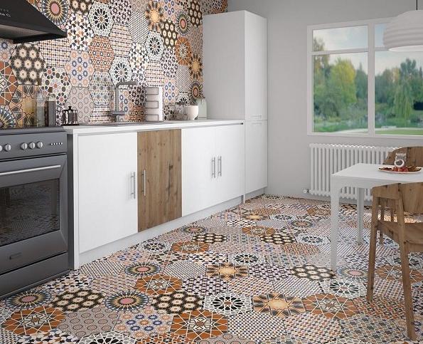 Moroccan Mix Hex Pattern Tile In 2019 Splashback Tiles
