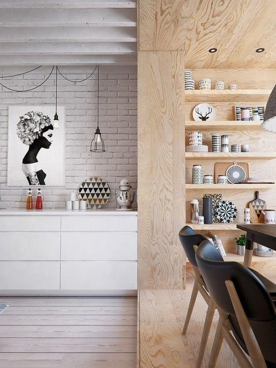 kolejny doskonały projekt mieszkania dla młodych ludzi - to wizualizacja 3d mieszkania w stylu skandynawskim. Funkcjonalne mieszkanie w pastelowych barwach od koloru białej cegły, naturalnego drewna po odcienie błękitu i szarości.Gdzieniegdzie tylko można zauważyć kolorowy kontrapunkt w czerwieni - to 100% skandynawskiego stylu i designu.Piękne, proste i funkcjonale z doskonale zagospodarowaną małą przestrzenią. Otwarta na salon kuchnia z jadalnią, kącik biurowy ukryty fenomenalnie za…