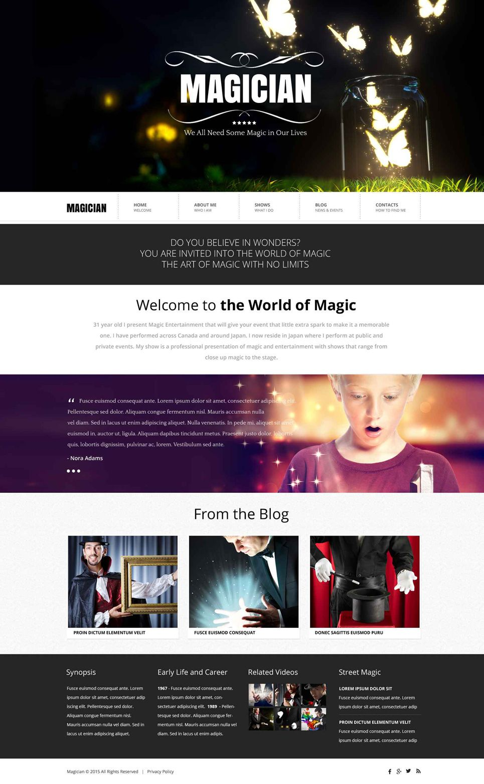 Magician Website Template 52685 Entertainment Websites The Magicians Entertaining
