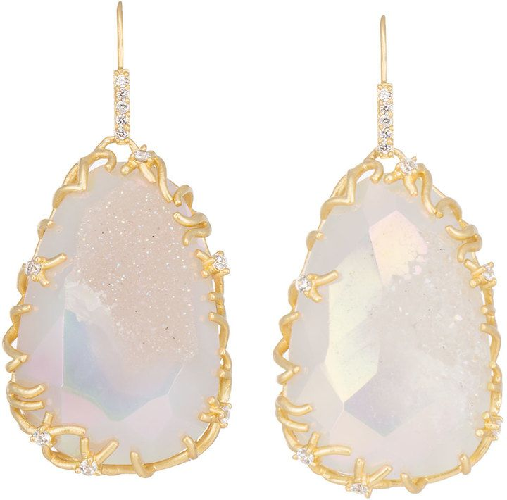 Kendra Scott Large Branch-Bezel Druzy Drop Earrings