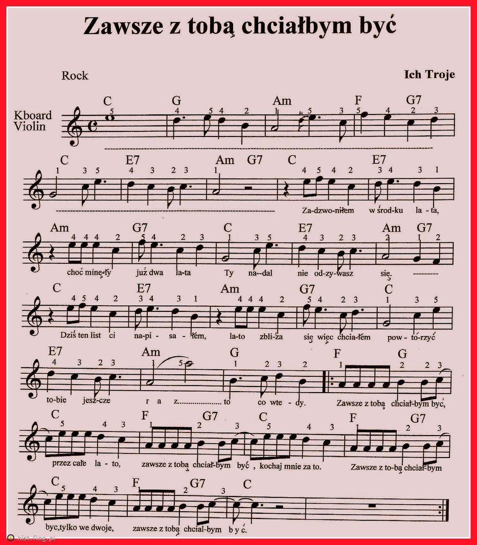 Fotoblog Hist Flog Pl Zawsze Z Toba Chcialbym Byc Ukulele Songs Accordion Sheet Music Sheet Music