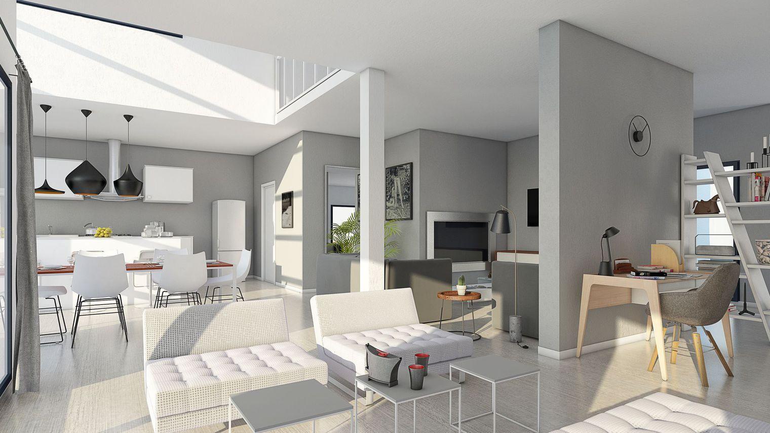 Plan petite maison moderne for Plan petite villa moderne