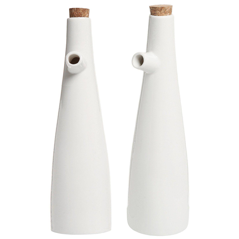 Amazon.com: Set of 2 Modern White Ceramic Tabletop Olive Oil ...