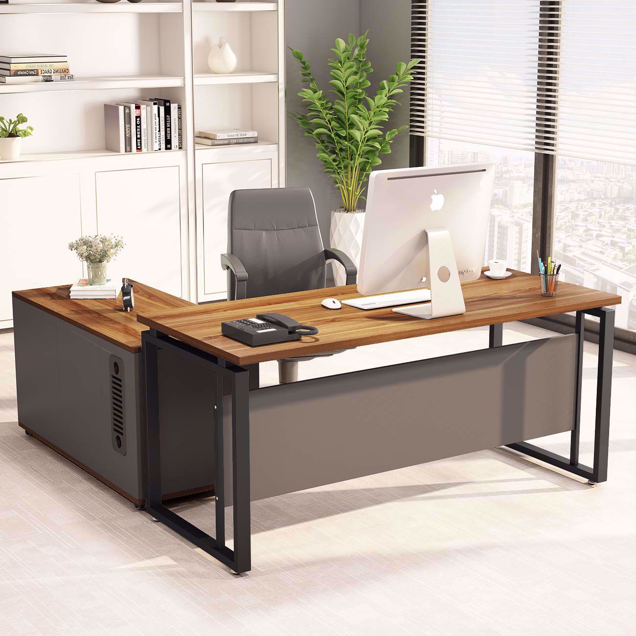 L Shaped Computer Desk With File Cabinet Storage Large Office