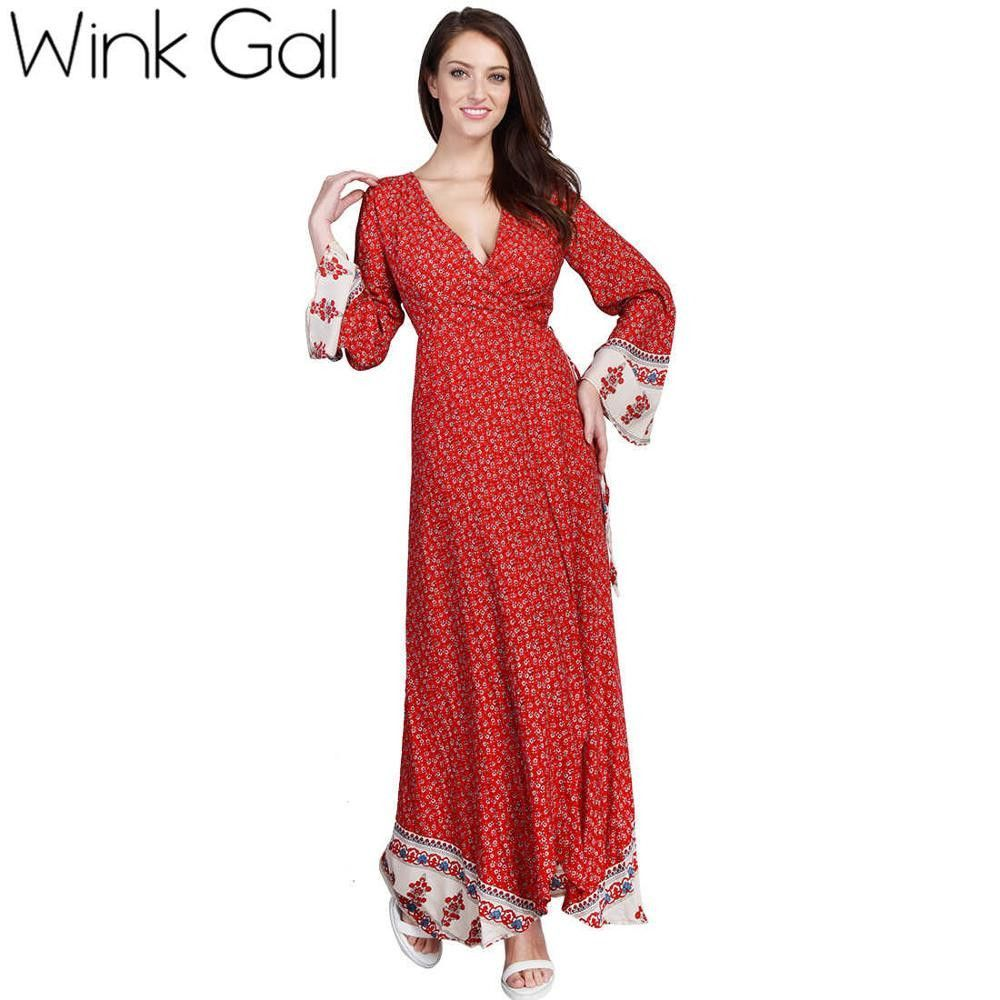 Wink gal sexy beach dress long summer dress deep vneck high waist