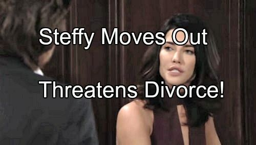 The Bold And The Beautiful Spoilers Steffy Moves Out Threatens To Divorce Wyatt If Quinn Doesn T Dump Eric Bold And The Beautiful Quinn Soap News