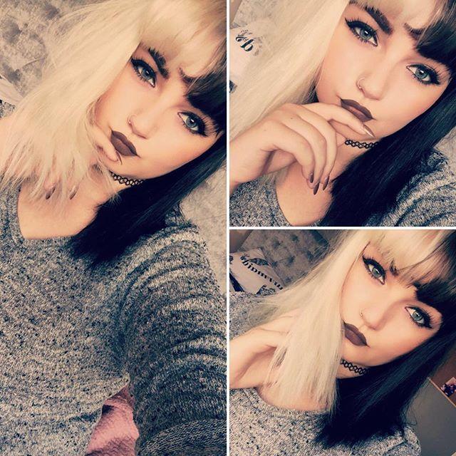 WEBSTA @ missilouise - Totally not like I've spent the last 5 minutes in the same pose trying to take a decent selfie... #posing #posingpractice #selfie #selfiequeen #selfienation #wednesdayselfie #selfiewhore #halfandhalfhair #halfblackhalfwhitehair #blackandwhitehair #cruelladevilhair #cruelladeville #likeit #likeforlike #like4like #followmethanks #followme #followforfollow