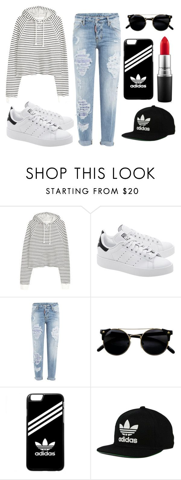 """Adidas"" by idreamoutloud123 ❤ liked on Polyvore featuring adidas Originals, Dsquared2, adidas and MAC Cosmetics"