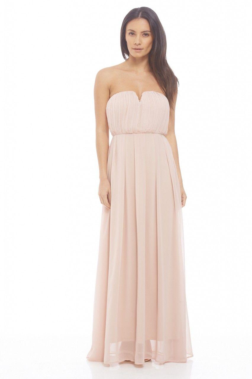 AX Paris Womens Chiffon Pleat Front Plain Maxi Nude Dress