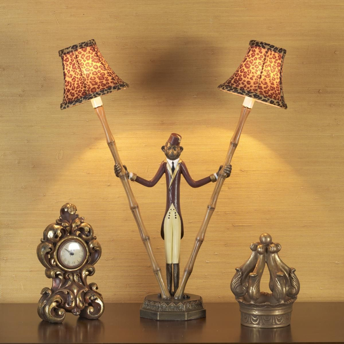 French monkey lamp - I Love This Lamp Handpainted Monkey Bellhop Lamp Holds 2 Bamboo Poles With Your