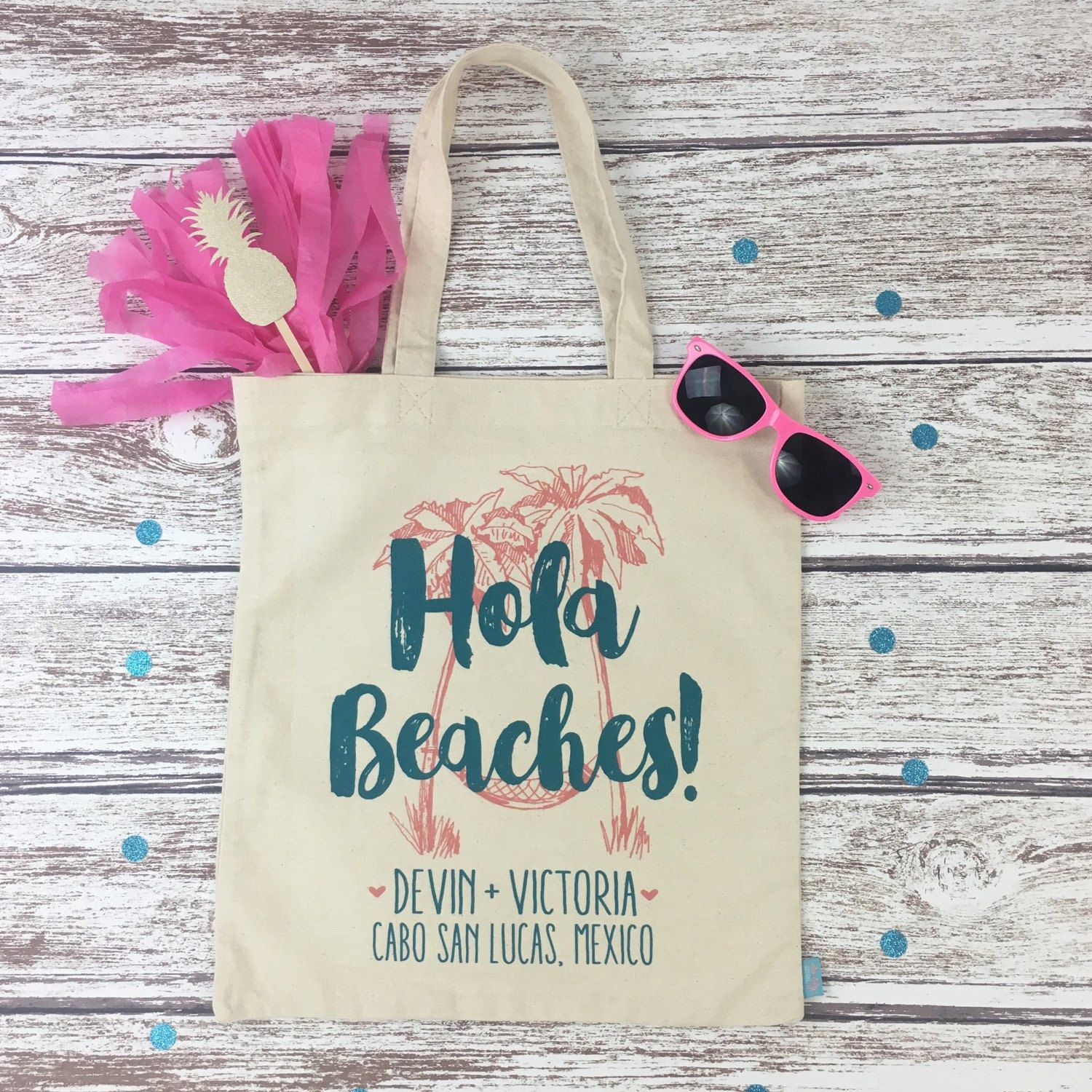 These Adorable Hola Beaches Tote Bags Are Off To A Destination Wedding In Cabo San Lucas An Oh So Perfect Welcome Favor For Beach