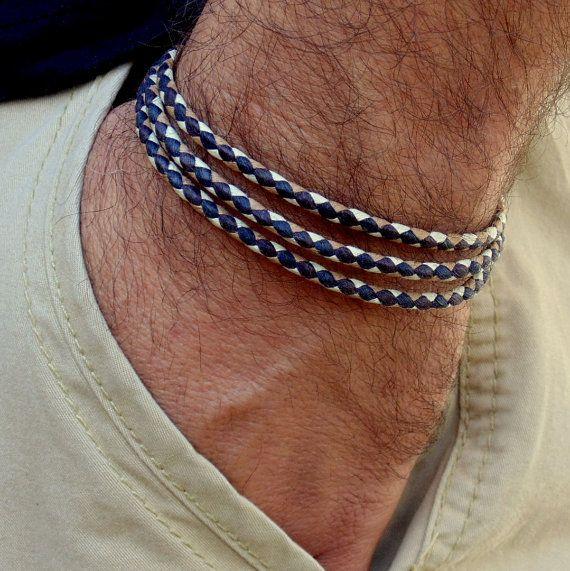 Mens Leather Bracelet Double Wrap Braided Surfer Surf Cuff Jewelry New Gfits LA