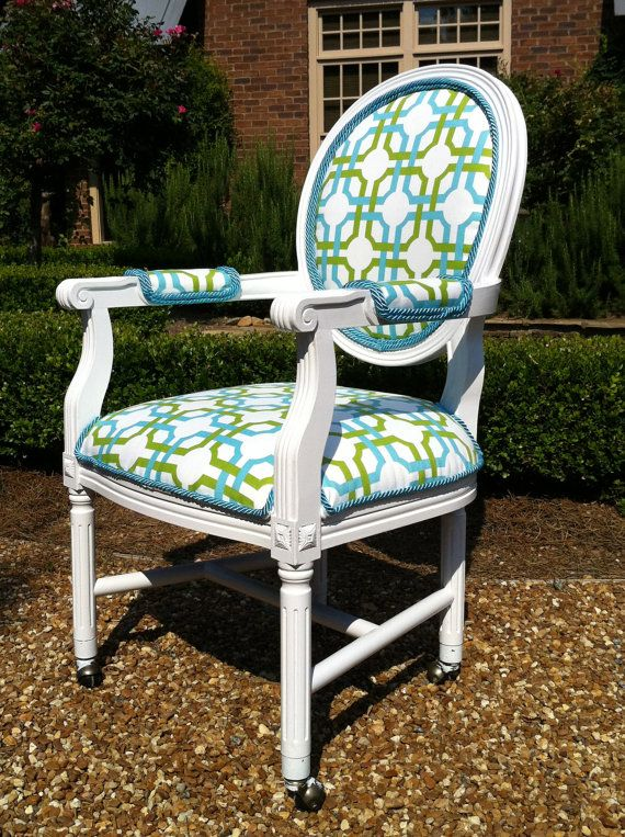 Best French Louis Geometric Blue And Green Accent Chair By 400 x 300