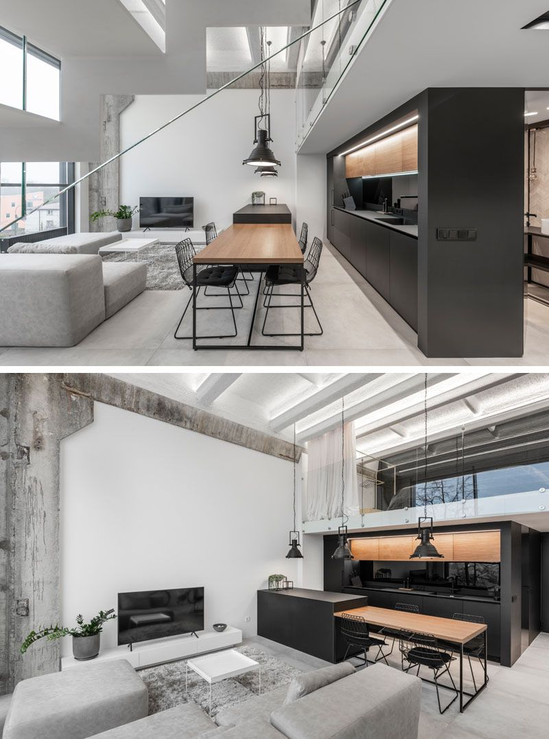 A Lithuanian Loft Interior With A Monochrome And Wood Material Palette Living Room Loft Loft Interior Design Modern Loft Apartment