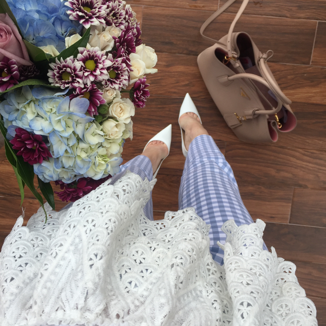 The cutest gingham pants for work today!  Picked up these blooms on my lunch break too  My pants are only $30 and super comfty! Shop via @liketoknow.it http://liketk.it/2oc0W #liketkit #LTKunder50