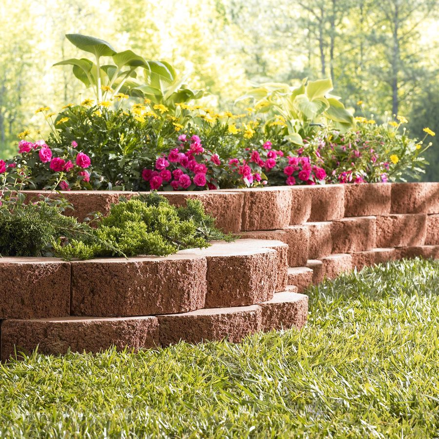 Shop Red Basic Retaining Wall Block Common 12 In X 4 In Actual