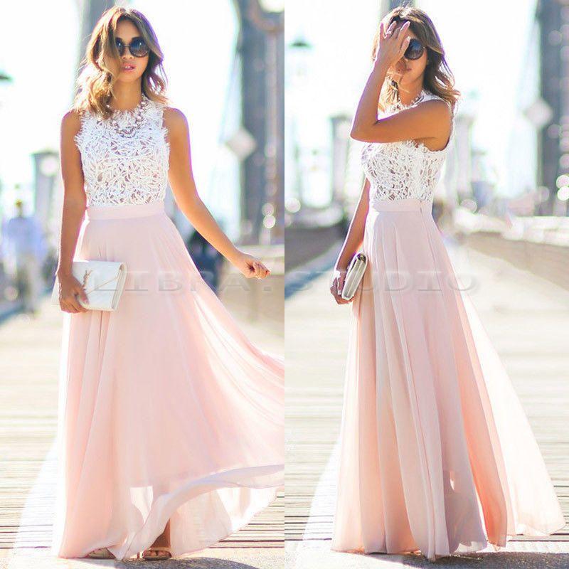 Sexy Women Summer Boho Maxi Long Evening Party Beach Dress Chiffon Lace Sundress