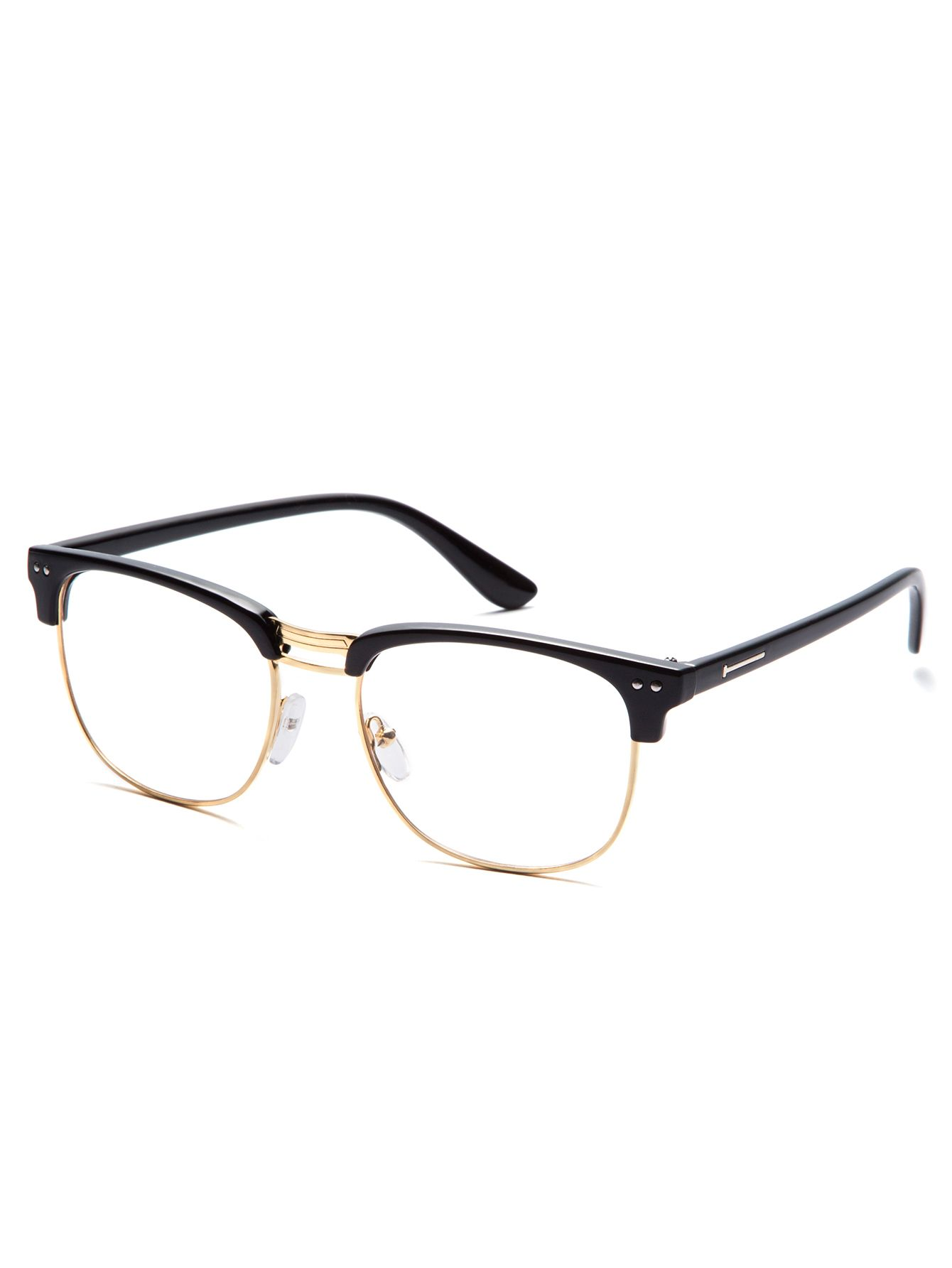598712200f46 Online shopping for Black Open Frame Gold Trim Glasses from a great  selection of women s fashion clothing   more at MakeMeChic.COM.
