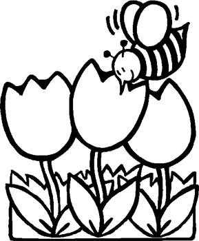Bee Coloring Page For Kids Bee With Flowers Bee With Tulips