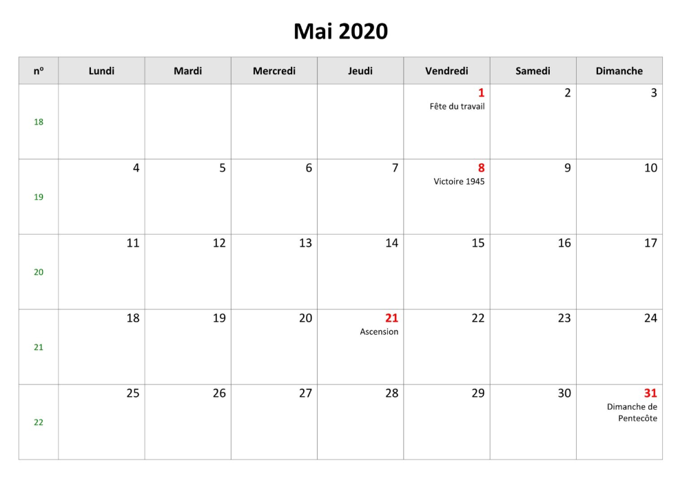Calendrier Mai 2020 Avec Jours Fériés in
