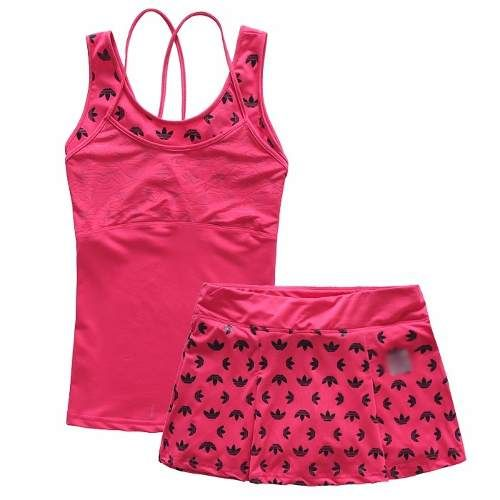 922f5055ccbd1 Conjunto Short Saia + Top Pink Adidas Fitness Tênis Academia - R  139