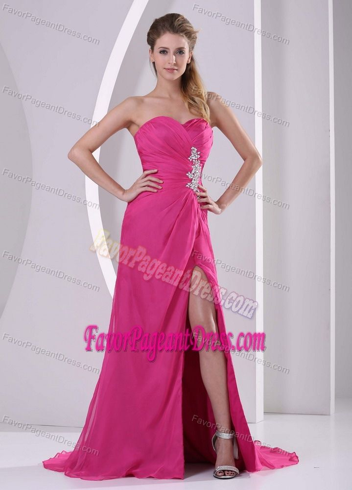High Slit Hot Pink Sweetheart Natural Beauty Pageants Dresses with ...