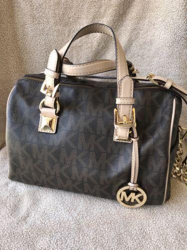 689456945e43 ... where to buy clearance michael kors medium grayson brown mk logo satchel  bag 853c2 6ab16 08fcf