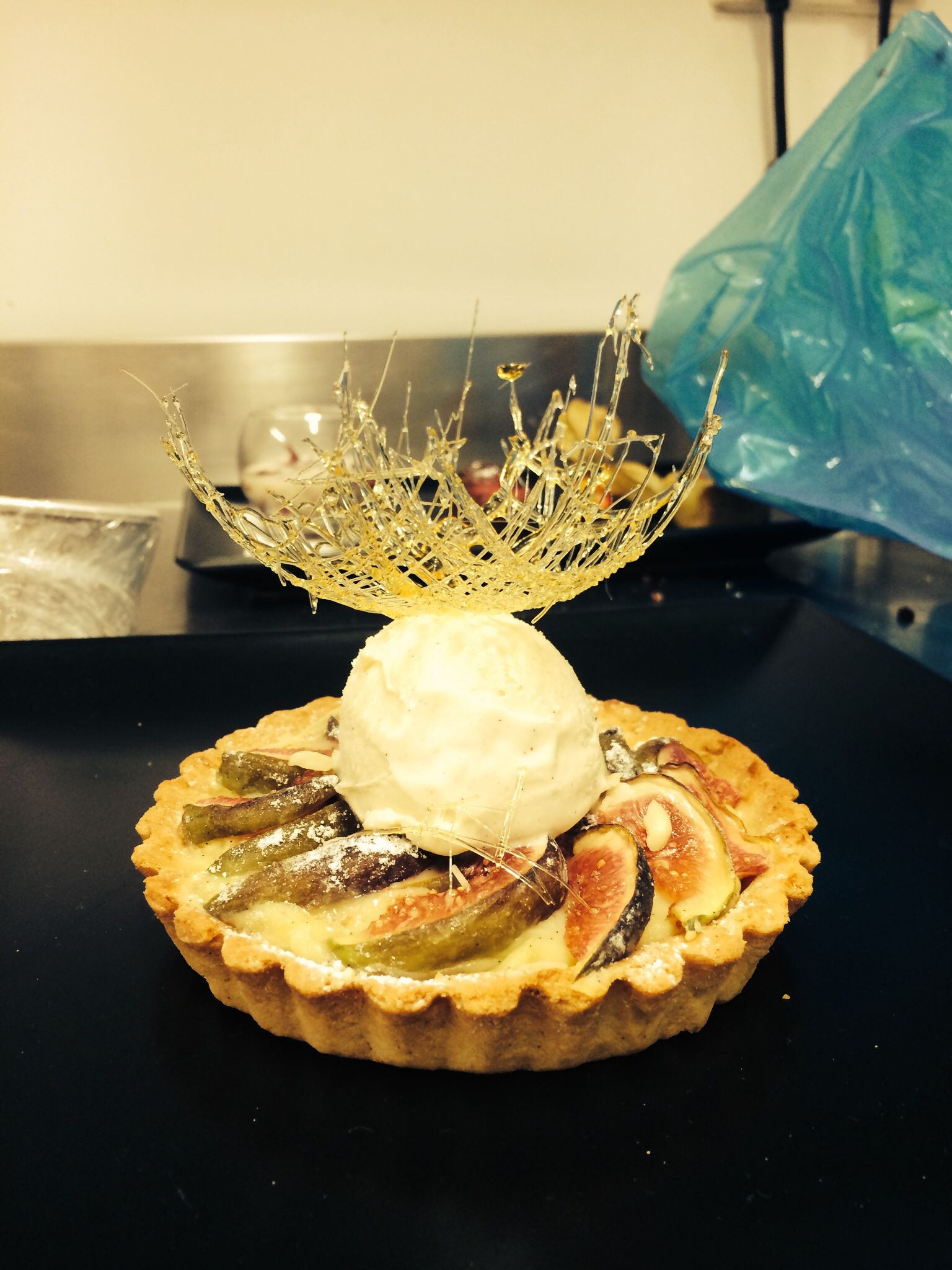 Corin restraunt where I work and on of my deserts it's a fig tart with cinnamon ice cream