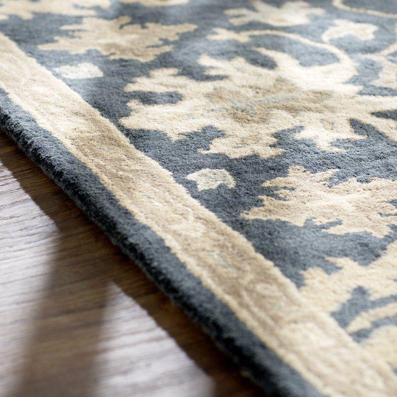 Charlton Home Willard HandTufted Wool Blue/Beige Area Rug
